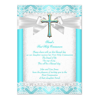 First Holy Communion 1st Girls Cross Teal 2 Card