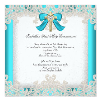 First Holy Communion 1st Girls Cross Teal 3 5.25x5.25 Square Paper Invitation Card