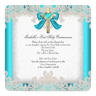First Holy Communion 1st Girls Cross Teal 3a 5.25x5.25 Square Paper Invitation Card