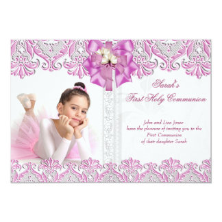 First Holy Communion 1st Girls Lilac Pink Photo 2 5x7 Paper Invitation Card