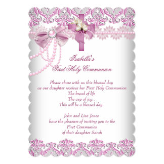 First Holy Communion 1st Girls Pink Pearl Lace 5x7 Paper Invitation Card