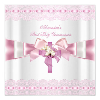 First Holy Communion 1st Girls White Pink Lace 2 5.25x5.25 Square Paper Invitation Card