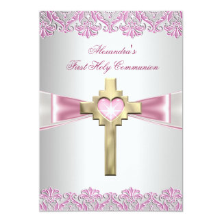 First Holy Communion 1st Gold Cross Girls Pink 5x7 Paper Invitation Card