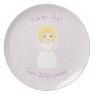 First Holy Communion Blonde Girl Melamine Plate