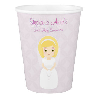 First Holy Communion Blonde Girl Paper Cup