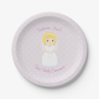 First Holy Communion Blonde Girl Paper Plate