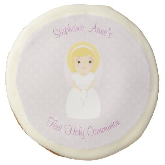 First Holy Communion Blonde Girl Sugar Cookie