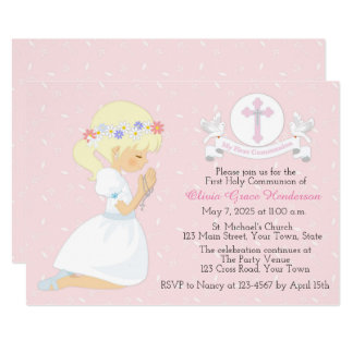 First Holy Communion Blonde Girl White Doves Card