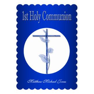 First holy communion blue boys card