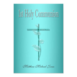 First holy communion blue silver card