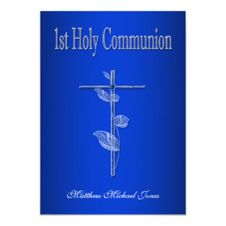 """First holy communion blue white 5"""" x 7"""" invitation card"""