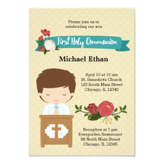 First Holy Communion boy * choose background color Card