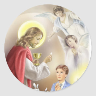 First Holy Communion boy Classic Round Sticker