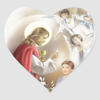 First Holy Communion boy Heart Sticker