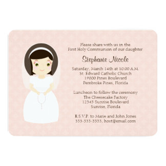 First Holy Communion Brunette Girl Card