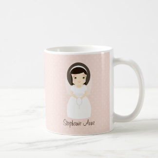 First Holy Communion Brunette Girl Coffee Mug