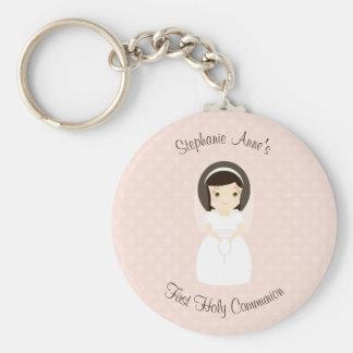 First Holy Communion Brunette Girl Keychain