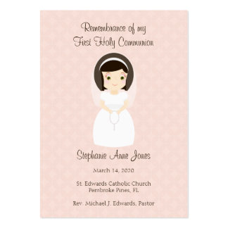 First Holy Communion Brunette Girl Large Business Card