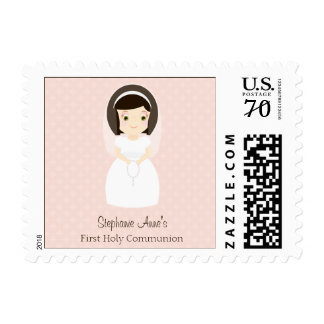 First Holy Communion Brunette Girl Postage