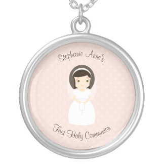First Holy Communion Brunette Girl Silver Plated Necklace
