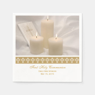 First Holy Communion Candles Paper Napkins