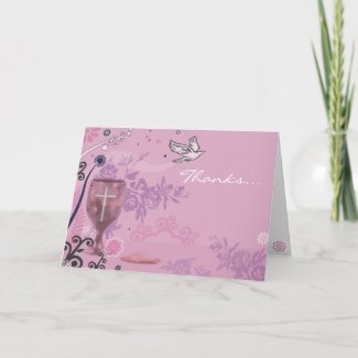 First Holy Communion Chalice Dove Thank You Card card