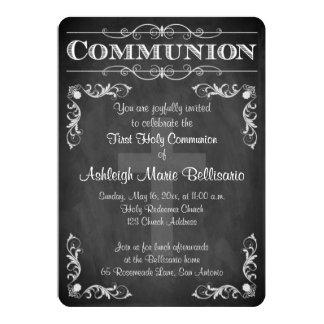 "First Holy Communion   Chalkboard   Cross   Scroll 5"" X 7"" Invitation Card"