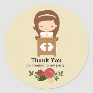 First Holy Communion * choose background color Classic Round Sticker