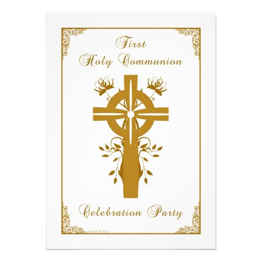 First Holy Communion - Cross Floral Design Personalized Announcements