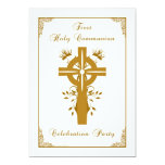 """First Holy Communion - Cross Floral Design 5"""" X 7"""" Invitation Card"""