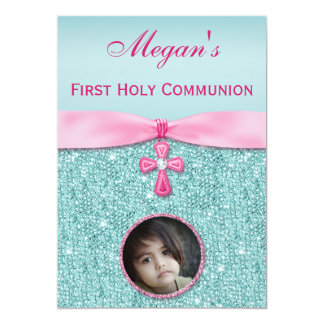 First Holy Communion Cross & Jewels Add Your Photo 5x7 Paper Invitation Card