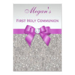 """First Holy Communion Faux Jewels, Bow & Diamond 5"""" X 7"""" Invitation Card"""