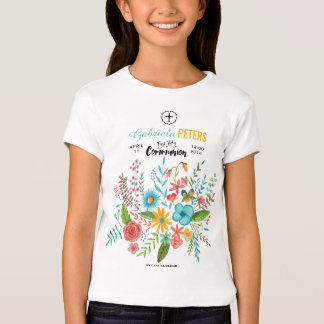 First Holy Communion Floral Kids   T-shirt