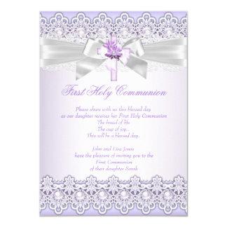 First Holy Communion Girls Cross Lavender Purple Card