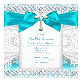First Holy Communion Girls Teal Blue Pearl White Card
