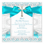 First Holy Communion Girls Teal Blue Pearl White 5.25x5.25 Square Paper Invitation Card