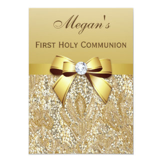 First Holy Communion Gold Sequins, Bow Diamond Card