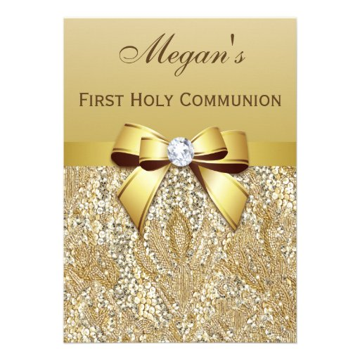 First Holy Communion Gold Sequins, Bow Diamond Invitation