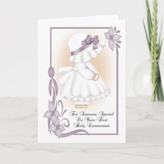 First holy communion greeting card little girl zazzle first holy communion greeting card little girl m4hsunfo