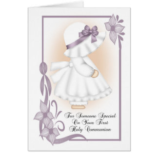 First Holy Communion Greeting Card Little Girl