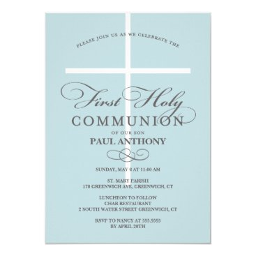 NBpaperco First Holy Communion Invitation Blue