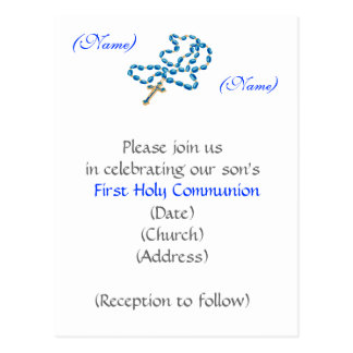 First Holy Communion Invitation-Blue Rosary Postcard