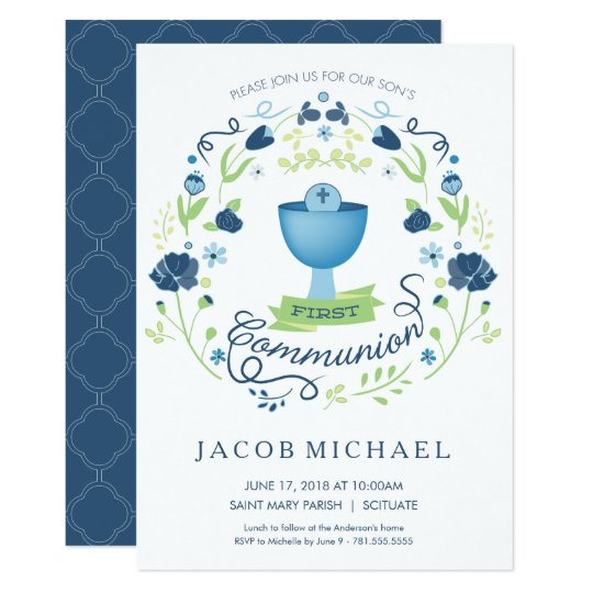 First Holy Communion Invitation Boys Invite Card – Invitation Cards for First Holy Communion