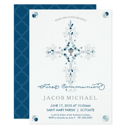 First Holy Communion Invitation Boys Invite Card