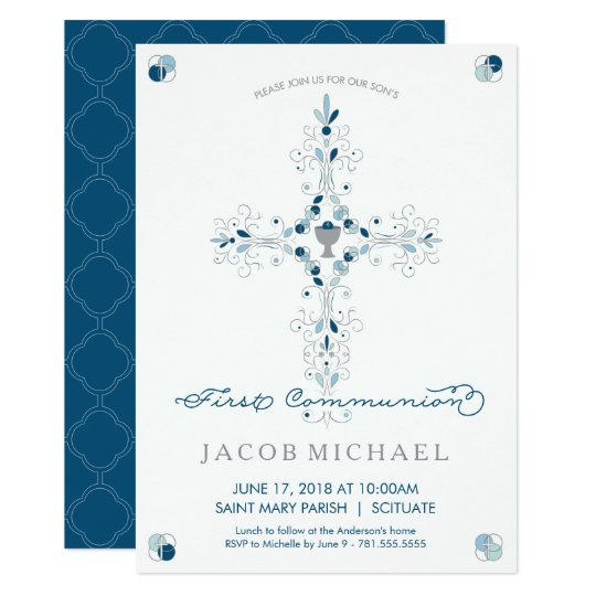 First Holy Communion Invitation Boy S Invite Card