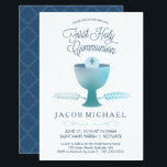 "First Holy Communion Invitation Boy&#39;s Small Invite<br><div class=""desc"">This 3.5&quot; x 5&quot; (small) modern and elegant First Holy Communion Invitation features a chalice, wheat, and host - symbols of the Eucharist. The words &quot;First Holy Communion&quot; are written in an elegant blue font. The text and background color can be customized to your liking. A perfect way to invite...</div>"