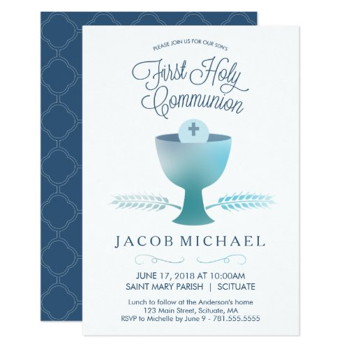 First Holy Communion Invitation Boys Small Invite