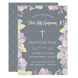 First Holy Communion Invitation Card with Cross