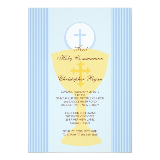First Holy Communion Invitation Chalice Boy Blue | Zazzle