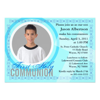 First Holy Communion Invitation Classic Blue